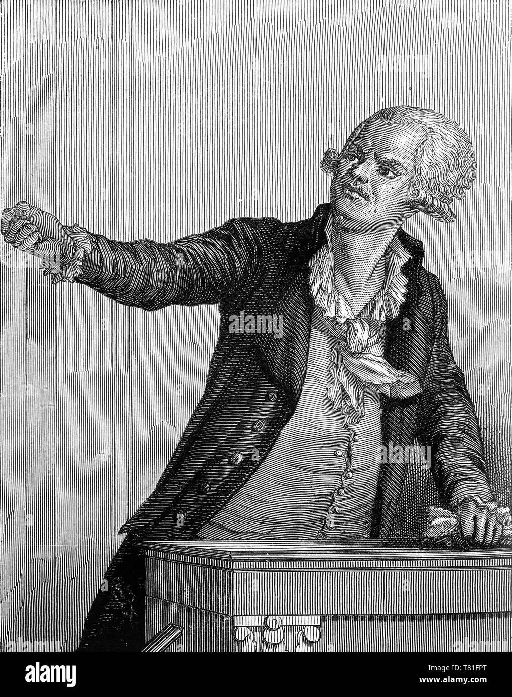 Engraving of Georges Jacques Danton (1759 – 1794) leading figure in the early stages of the French Revolution, amd the first president of the Committee of Public Safety. He was guillotined after accusations of leniency toward the enemies of the Revolution. - Stock Image