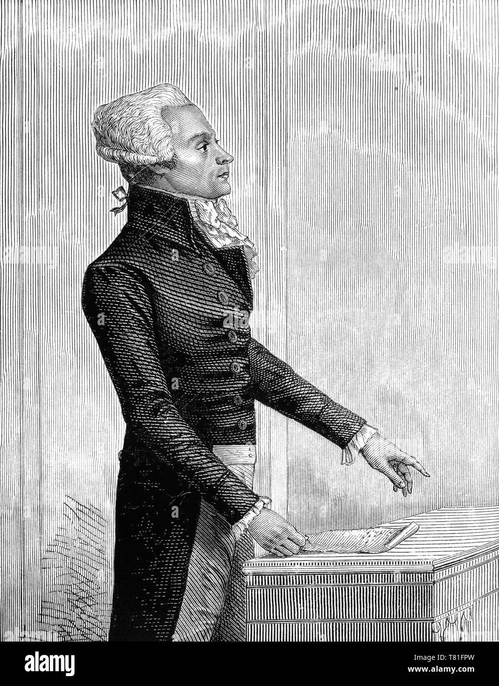 Engraving of Maximilien François Marie Isidore de Robespierre (1758 – 1794) French lawyer and politician, and one of the best known and most influential figures associated with the French Revolution. He too was eventually guillotined. - Stock Image