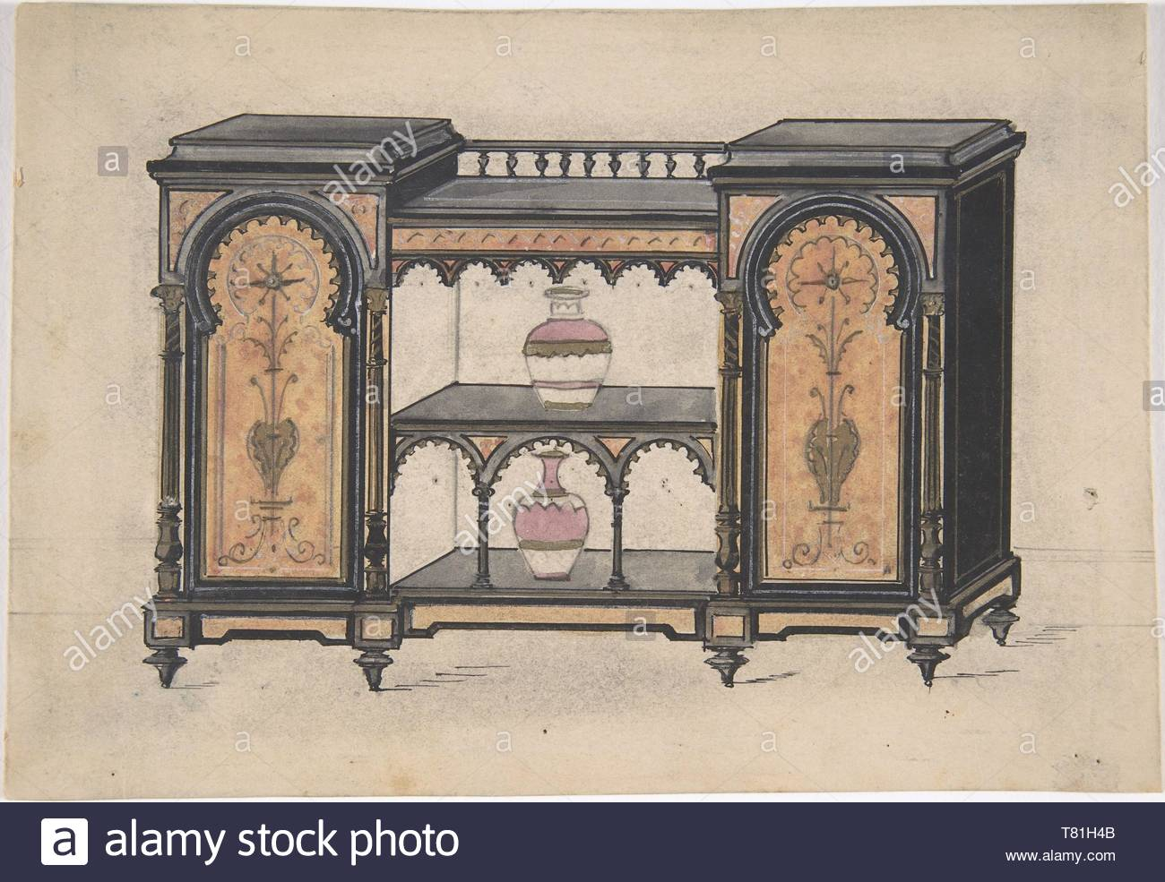 Anonymous, British, 19th century-Design for a Cabinet with Two Central Shelves and Arched Doors - Stock Image