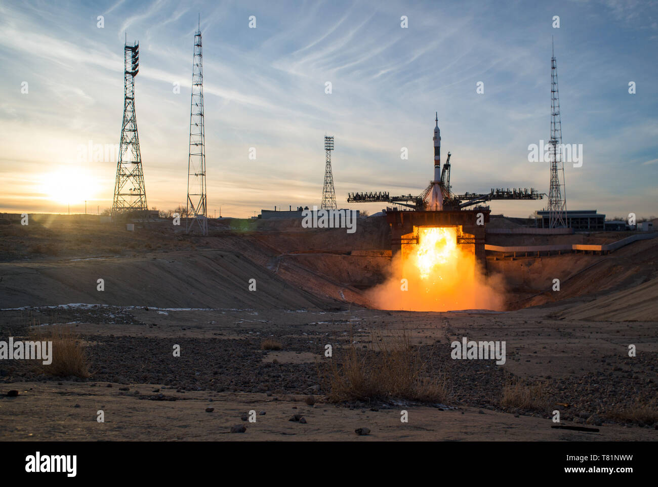 Soyuz MS-11 Launch, Expedition 58 - Stock Image