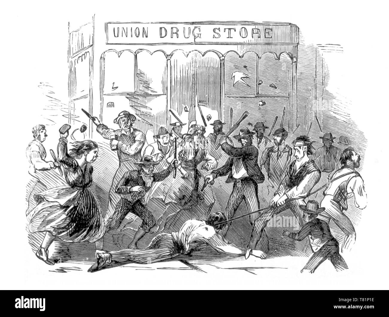 NYC Draft Riots, The Killing of Henry O'Brien, 1863 - Stock Image