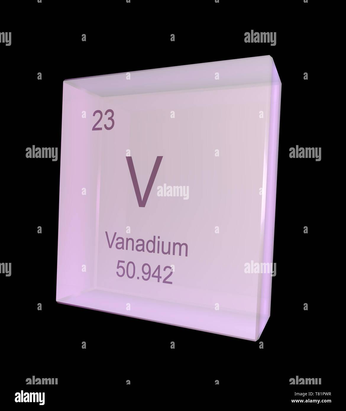 Vanadium, Chemical Element Symbol, Illustration - Stock Image