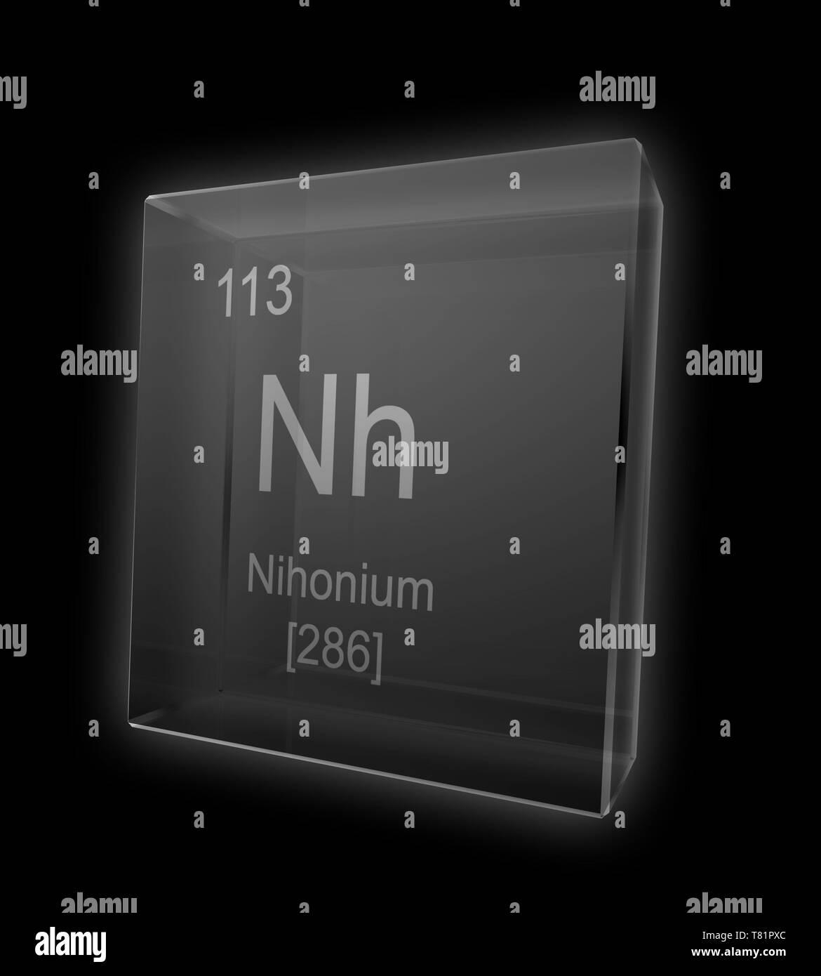 Nihonium, Chemical Element Symbol, Illustration - Stock Image