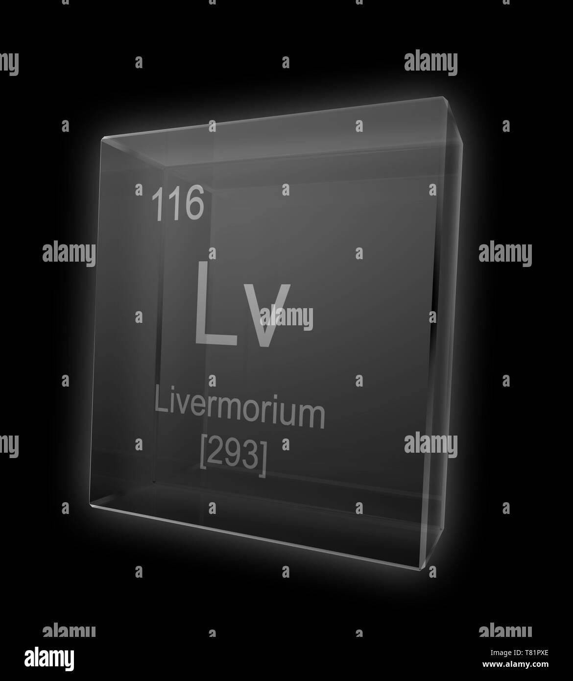 Livermorium, Chemical Element Symbol, Illustration - Stock Image