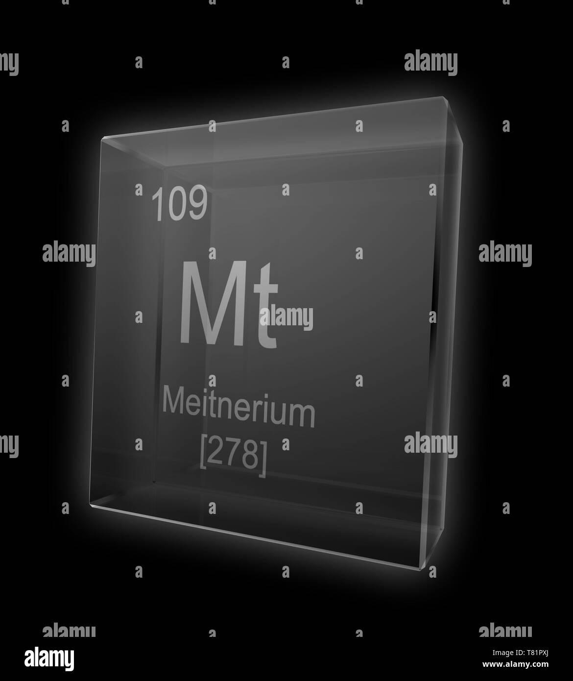 Meitnerium, Chemical Element Symbol, Illustration - Stock Image