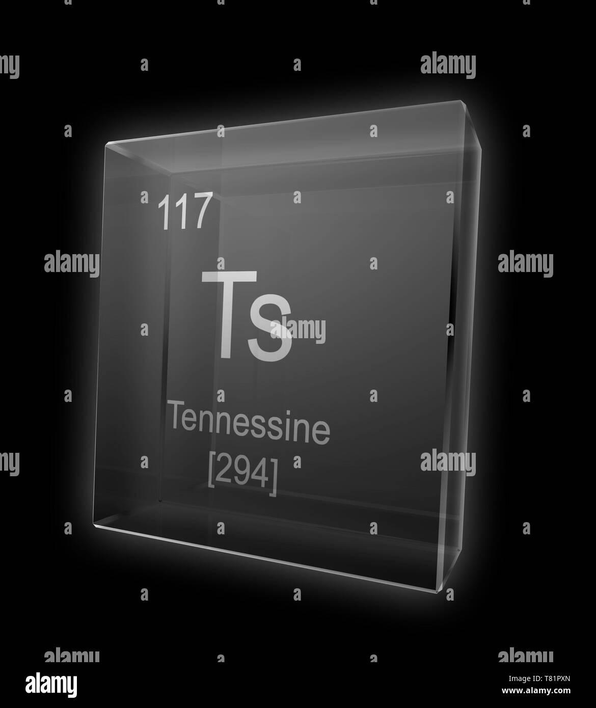 Tennessine, Chemical Element Symbol, Illustration - Stock Image