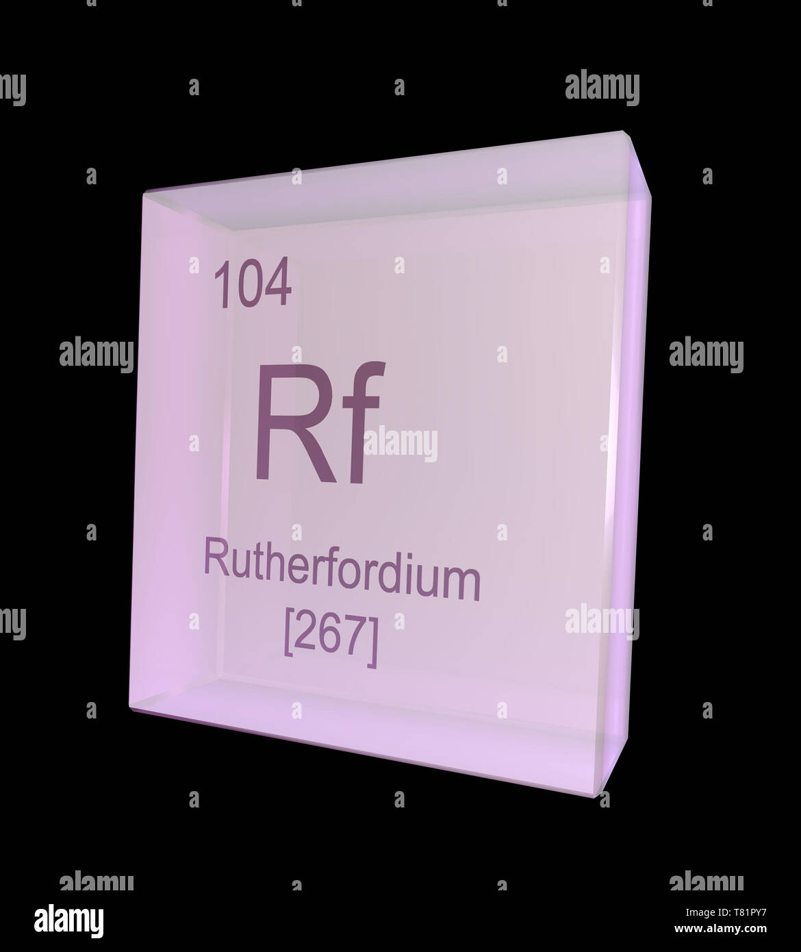 Rutherfordium, Chemical Element Symbol, Illustration Stock Photo