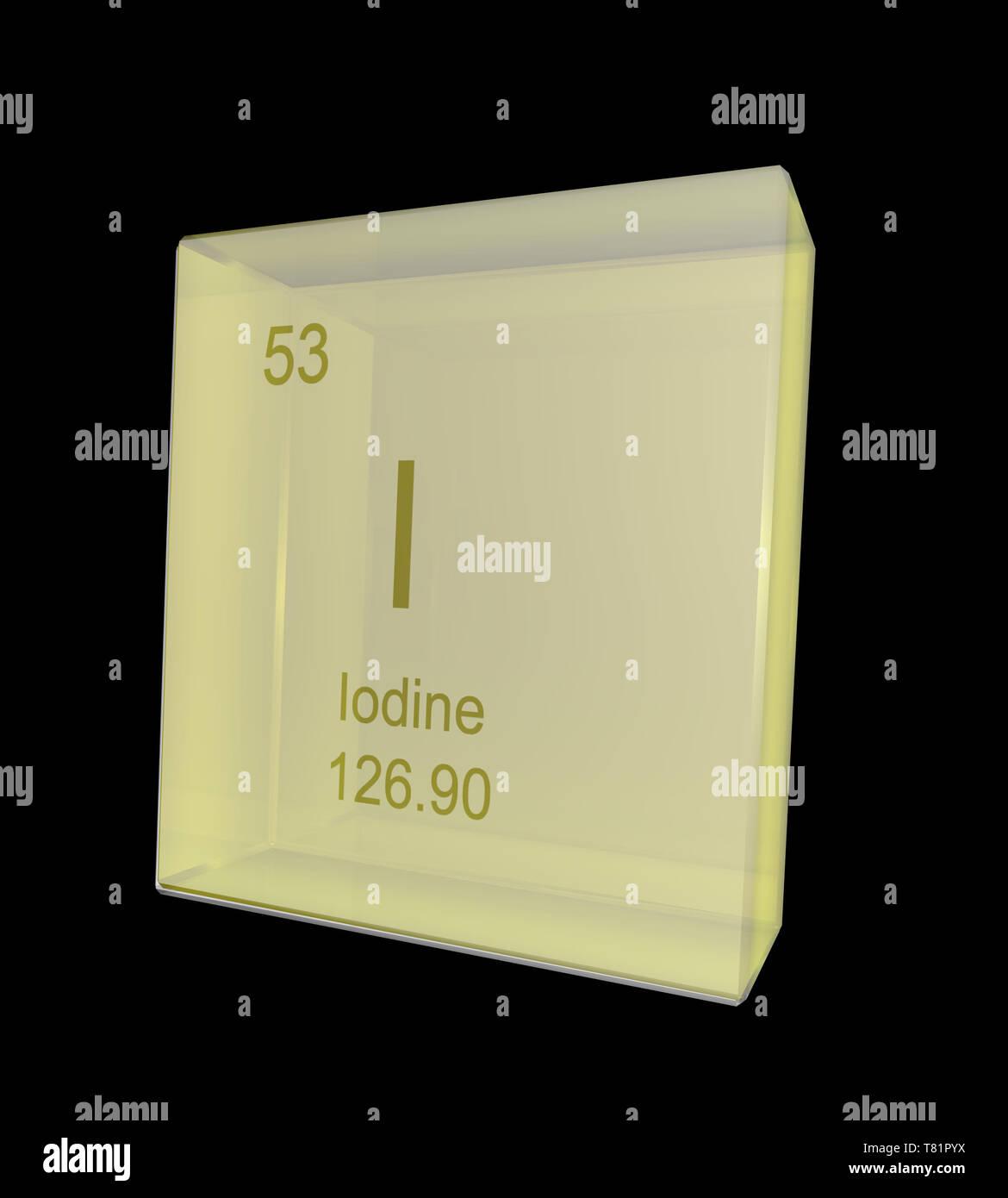 Iodine, Chemical Element Symbol, Illustration - Stock Image