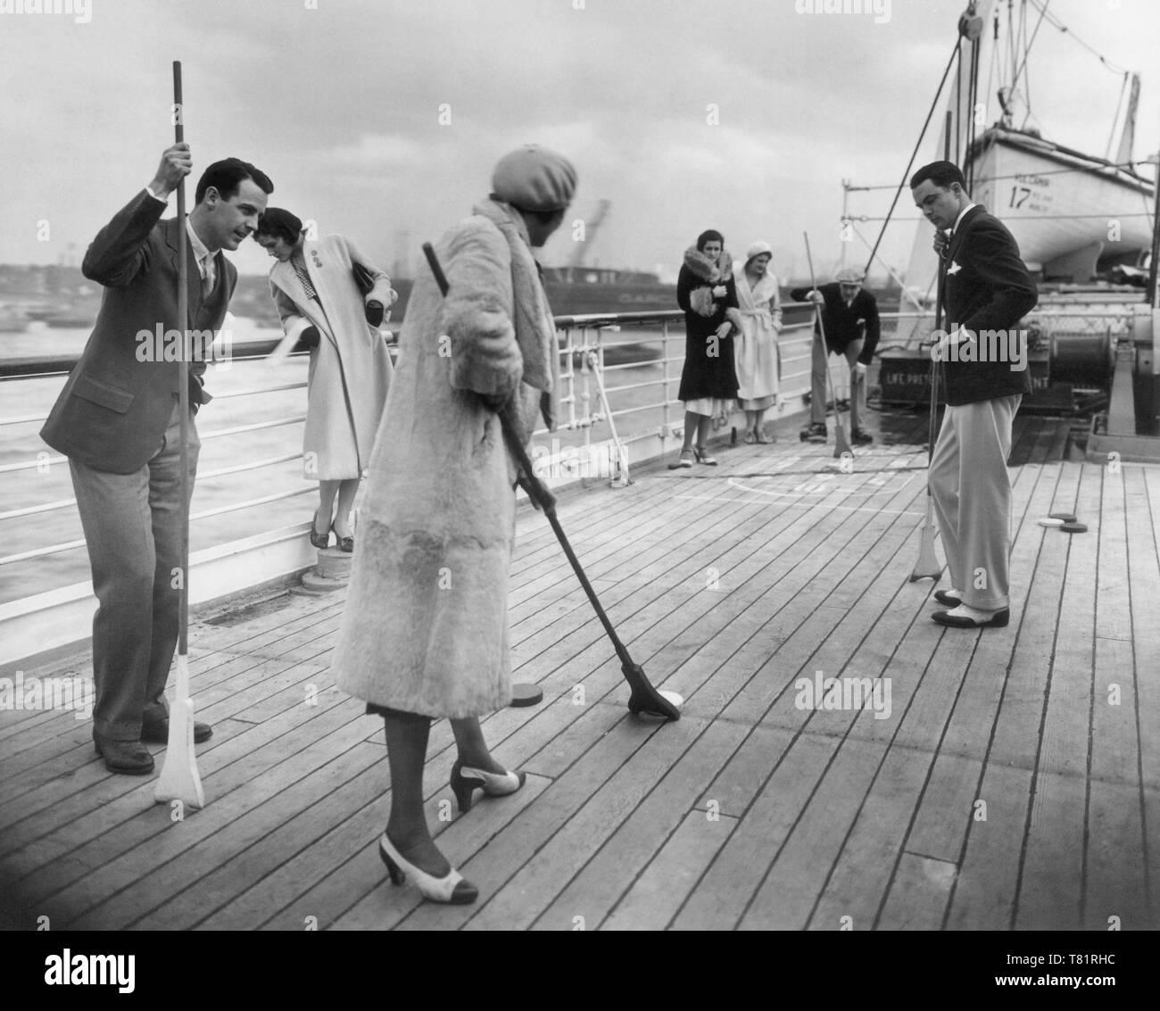 Shuffleboard Aboard the MS Vulcania - Stock Image