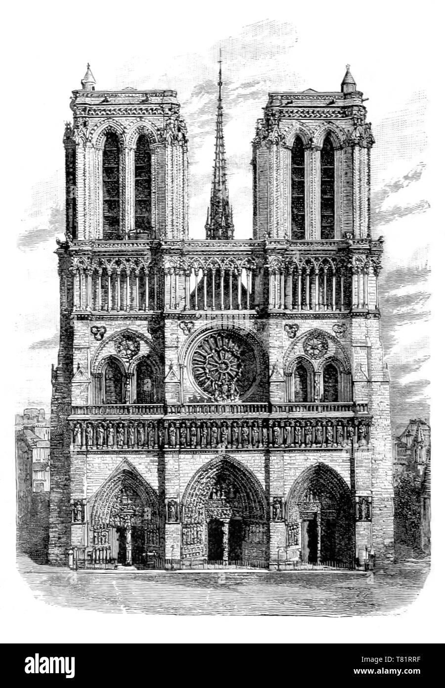 Notre-Dame de Paris, 1881 - Stock Image