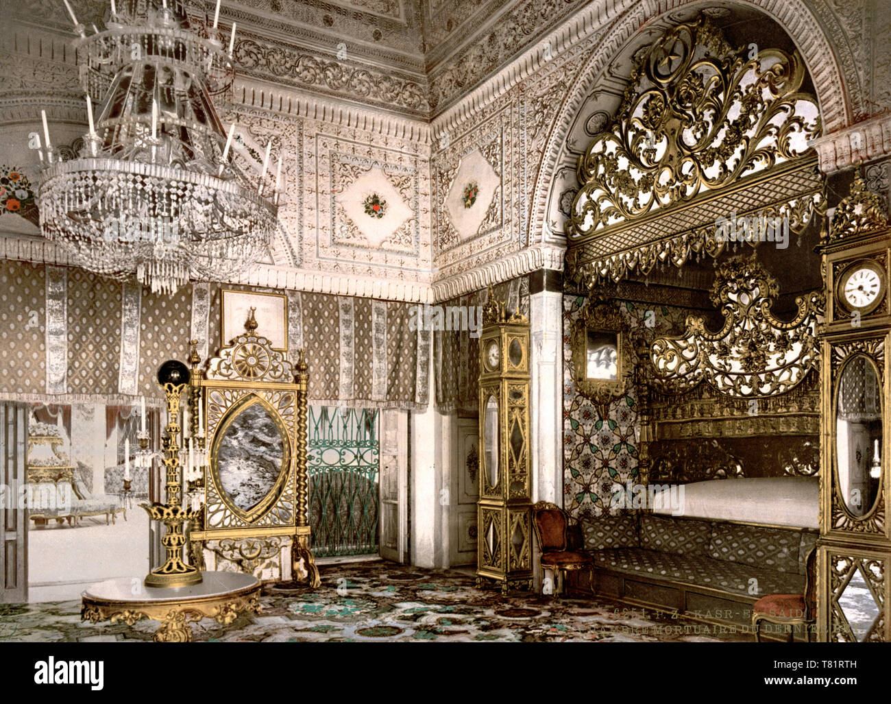 Tunis, Kassar-Said Palace, Bedchamber, 1899 Stock Photo