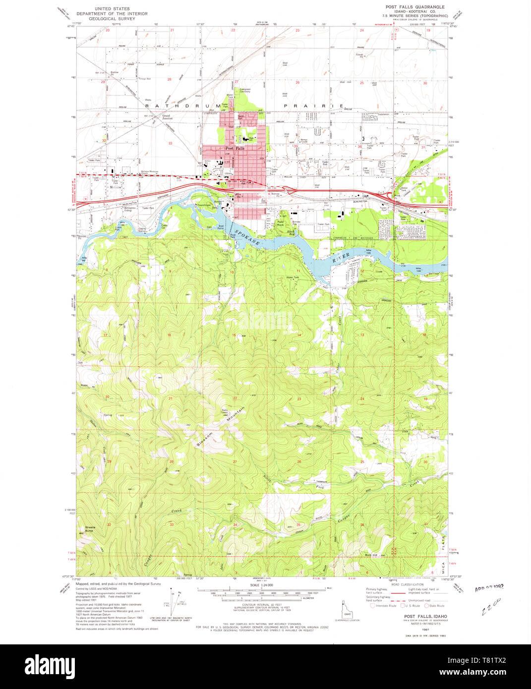 map of post falls idaho Usgs Topo Map Idaho Id Post Falls 237718 1981 24000 Restoration Stock Photo Alamy map of post falls idaho
