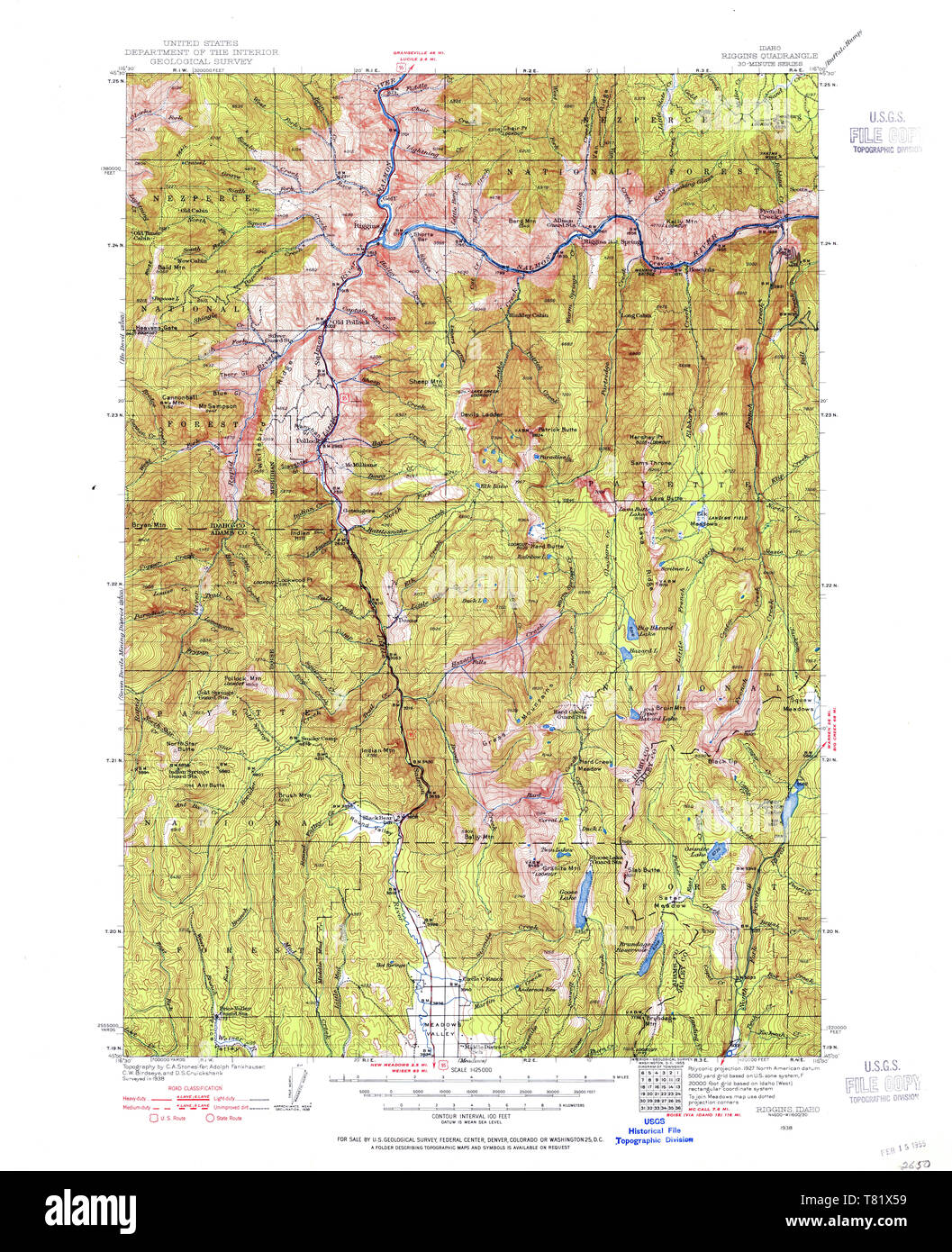 USGS TOPO Map Idaho ID Riggins 239556 1938 125000 ...