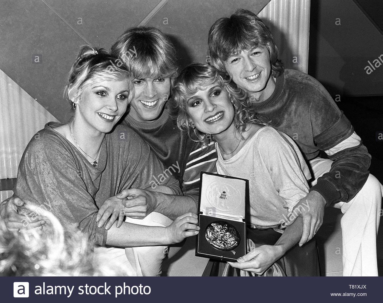 File photo dated 11/03/81 of Bucks Fizz, who won the Eurovision Song Contest in 1981. From the heady heights of the days of Bucks Fizz and Katrina And The Waves, to the lows of Daz Sampson and Jemini, the UK has attempted to entertain its European neighbours with some interesting performances over Eurovision's more than 60-year history. - Stock Image