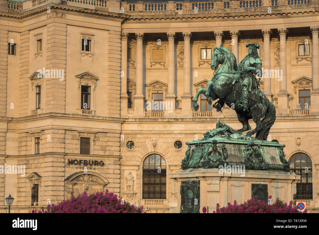 Vienna Austria, view of the statue of Prince Eugene of Savoy against the backdrop of the Neue Burg building in the Hofburg Palace complex, Austria. Stock Photo