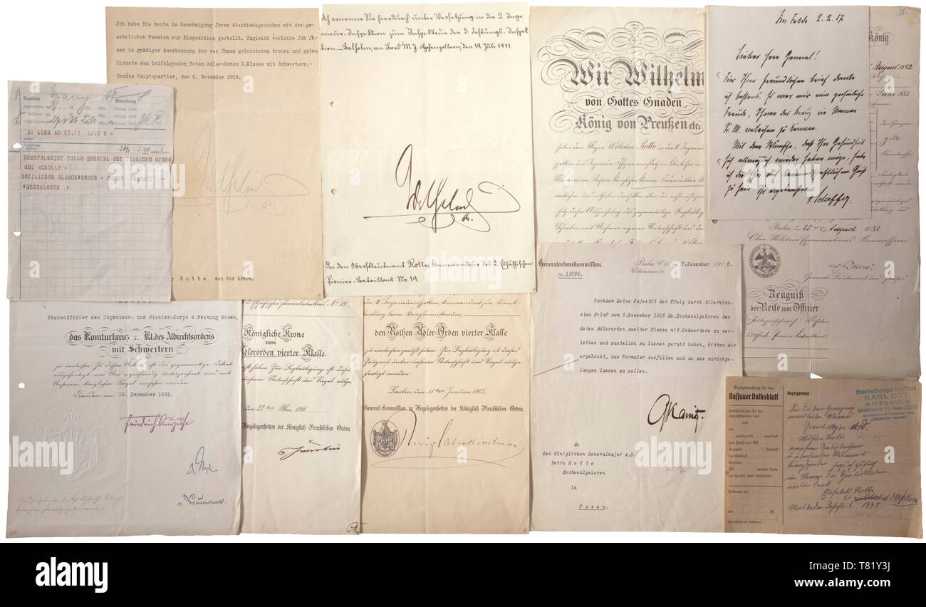 An award documents and documentation group of Prussian Generalmajor Wilhelm Rotte Italian award document for the Knight's Cross to the Order of the Crown of 1890, a Prussian award document for the Centennial Medal (edge lacerations) and documents for the Order of the Red Eagle 4th Class dated 1903, the Long Service Cross dated 1906, the Order of the Crown 3rd Class dated 1906, the Crown to the Order of the Red Eagle 4th Class dated 1911, the Saxon award document for the Commander's Cross 2nd Class with Swords to the Order of Albert, the Order of , Additional-Rights-Clearance-Info-Not-Available - Stock Image