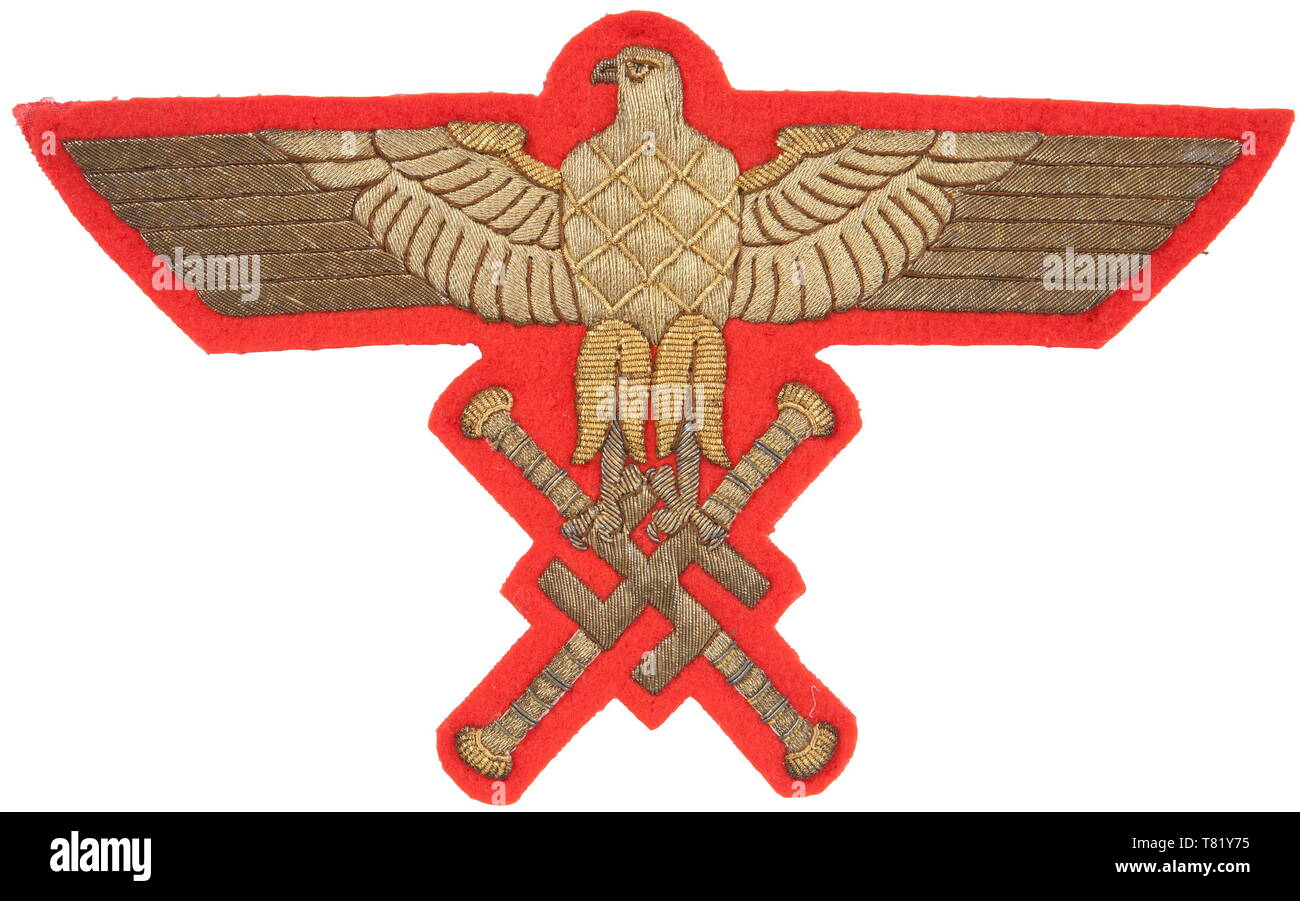 Hermann Göring - a funeral sash eagle Embroidered gold bullion thread Reichsmarschall eagle on red backing from funeral sash. 21 x 13 cm. USA - Los historic, historical, 20th century, 1930s, NS, National Socialism, Nazism, Third Reich, German Reich, Germany, German, National Socialist, Nazi, Nazi period, fascism, Editorial-Use-Only - Stock Image