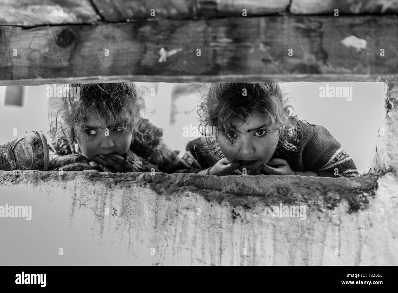 Kullu, Himachal Pradesh, India - April 01, 2019 : Photo of Kids in their house in Himalayan village - - Stock Image