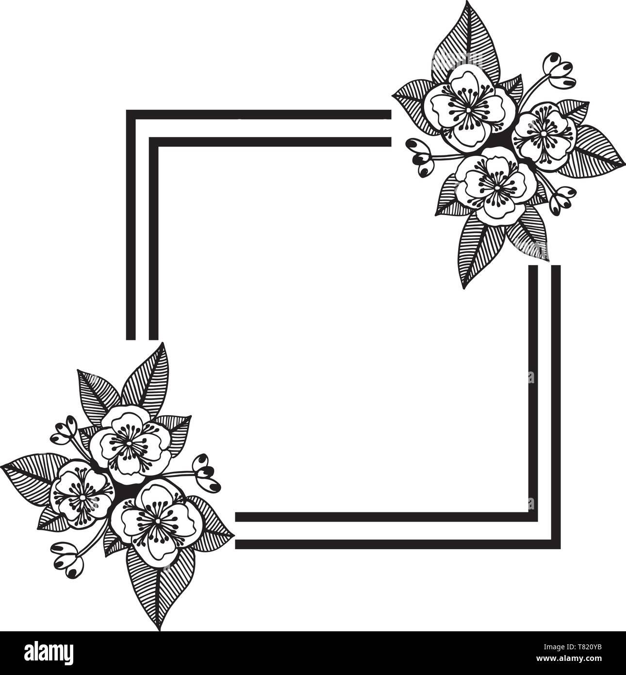 Vector Illustration Drawing Flower Frame For Walpaper Design Of