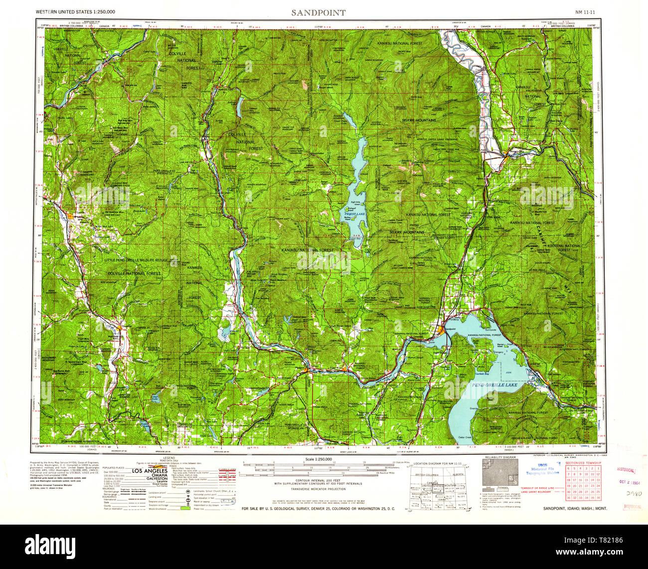 USGS TOPO Map Idaho ID Sandpoint 239678 1963 250000 ...