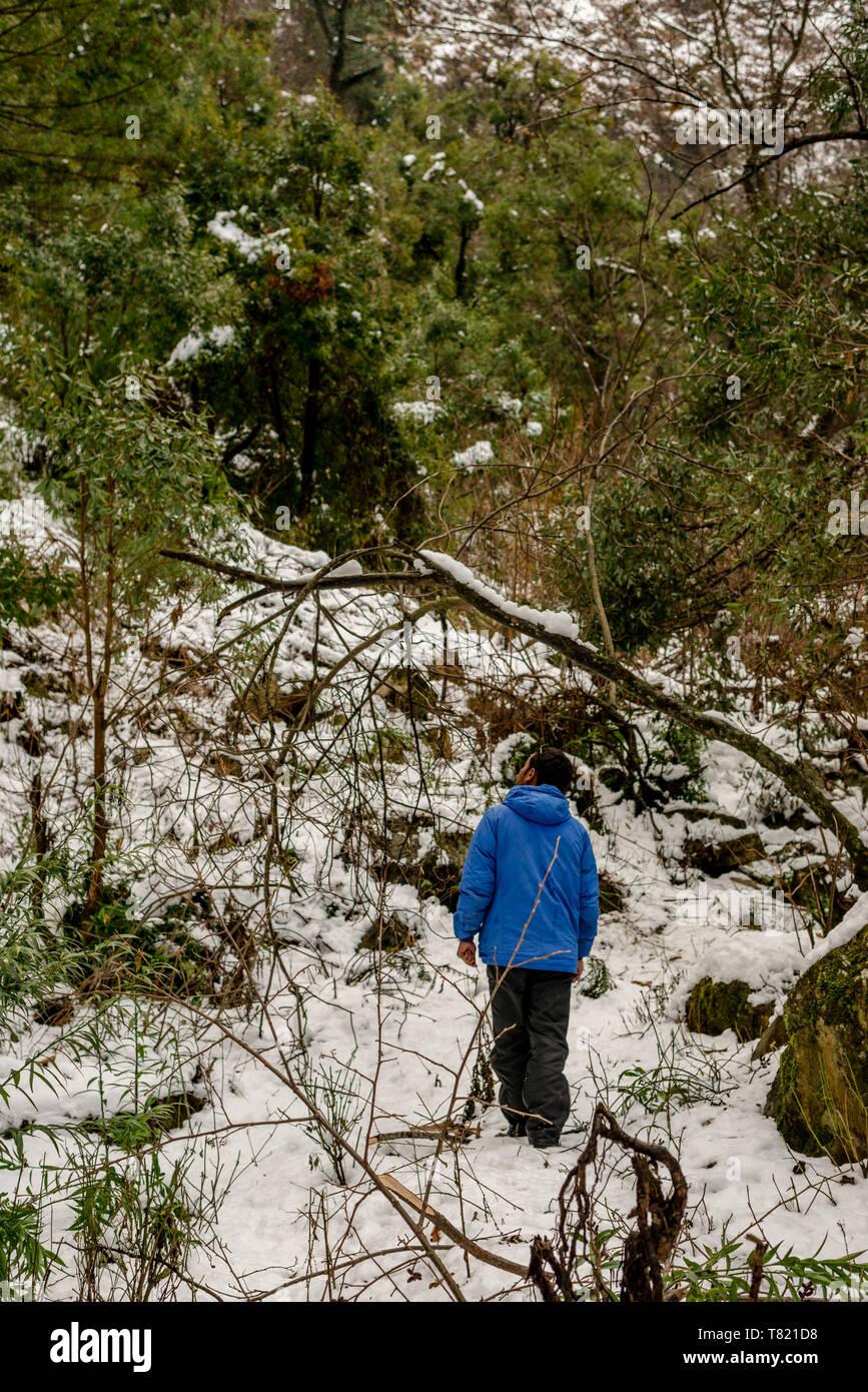 Kullu, Himachal Pradesh, India - Feburuary 08, 2019 : Traveller in Mountains - Majestic winter landscape in himalayas - - Stock Image