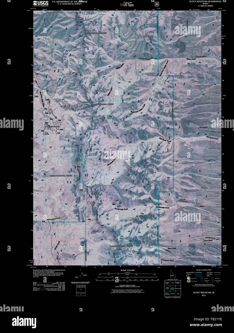 USGS TOPO Map Idaho ID Scout Mountain 20110211 TM Inverted