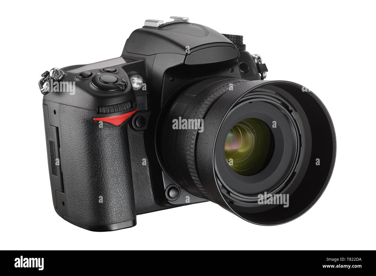Black digital camera isolated on white background with clipping path - Stock Image