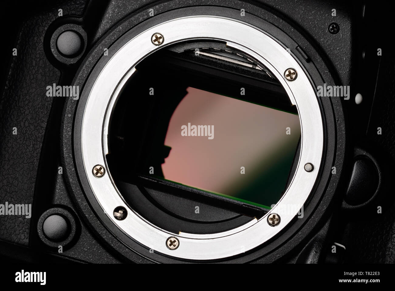 Digital camera full frame sensor and lens mount close-up - Stock Image