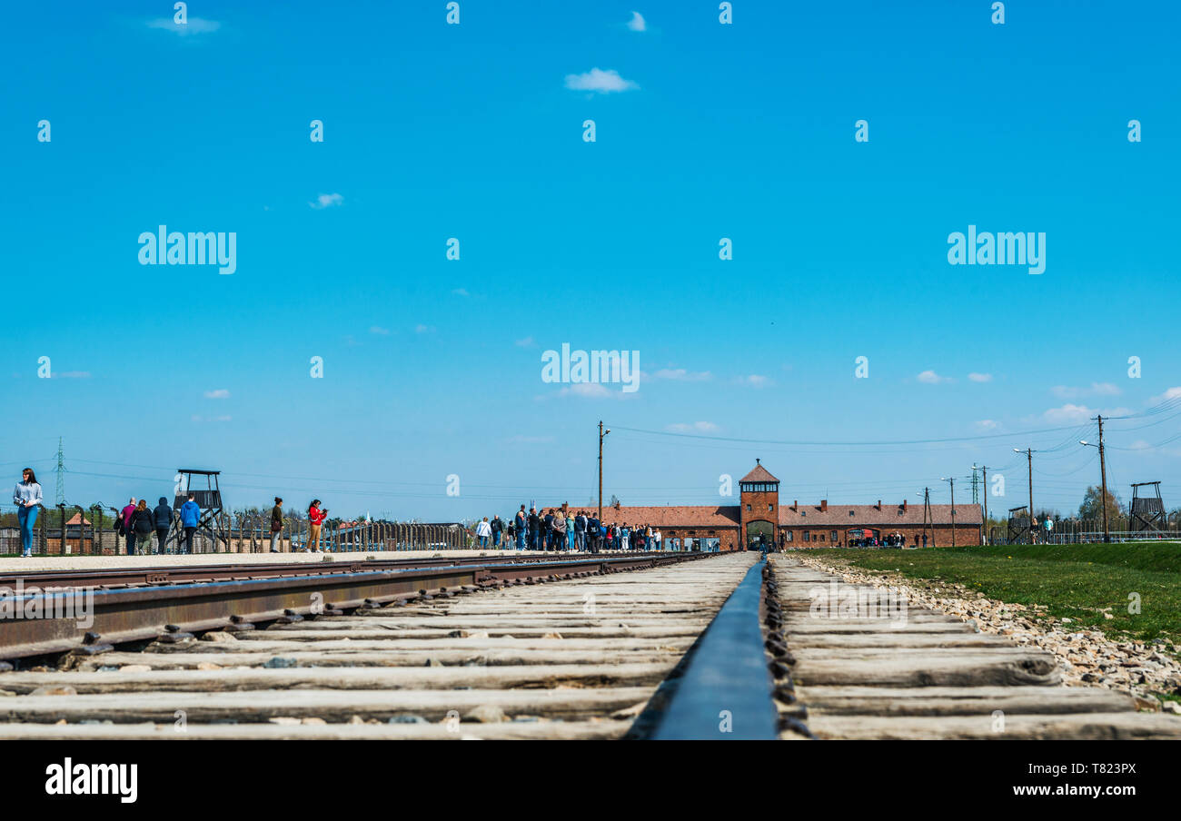 AUSCHWITZ (OSWIECIM), POLAND - APRIL 18, 2019: Rail Tracks and platform in Auschwitz Birkenau extermination death camp, Poland - Stock Image