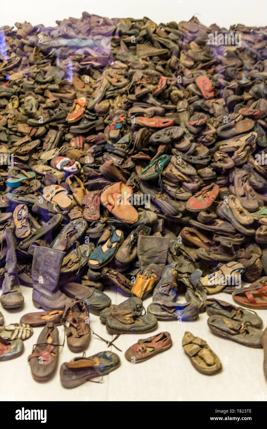 AUSCHWITZ (OSWIECIM), POLAND - APRIL 18, 2019: Some of almost 80,000 shoes that belonged to Auschwitz victims in Oswiecim, Poland - Stock Image