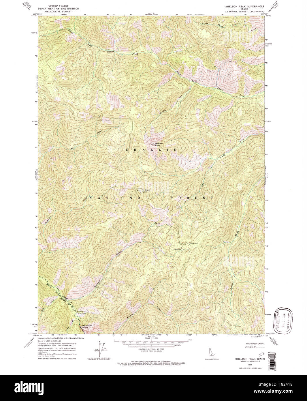 USGS TOPO Map Idaho ID Sheldon Peak 238108 1963 24000 ...