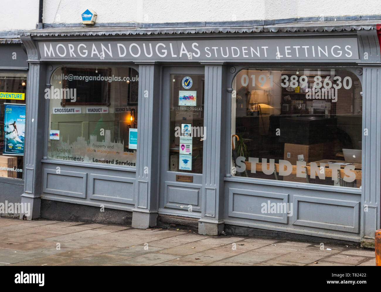 Morgan Douglas,Student Lettings offices in Durham,England,UK - Stock Image