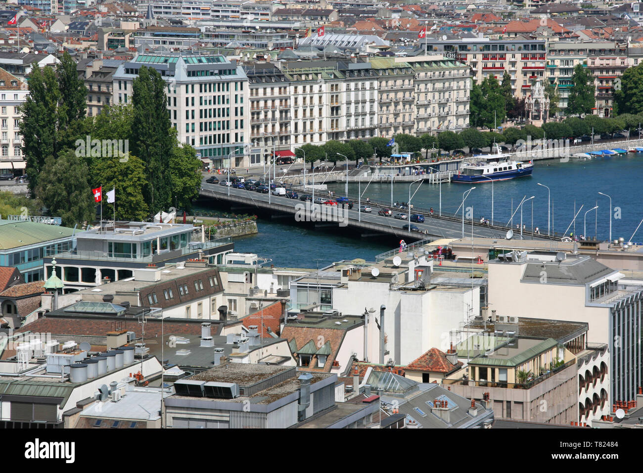 Cityscape of Geneva, Switzerland, seen from the top of cathedral. - Stock Image