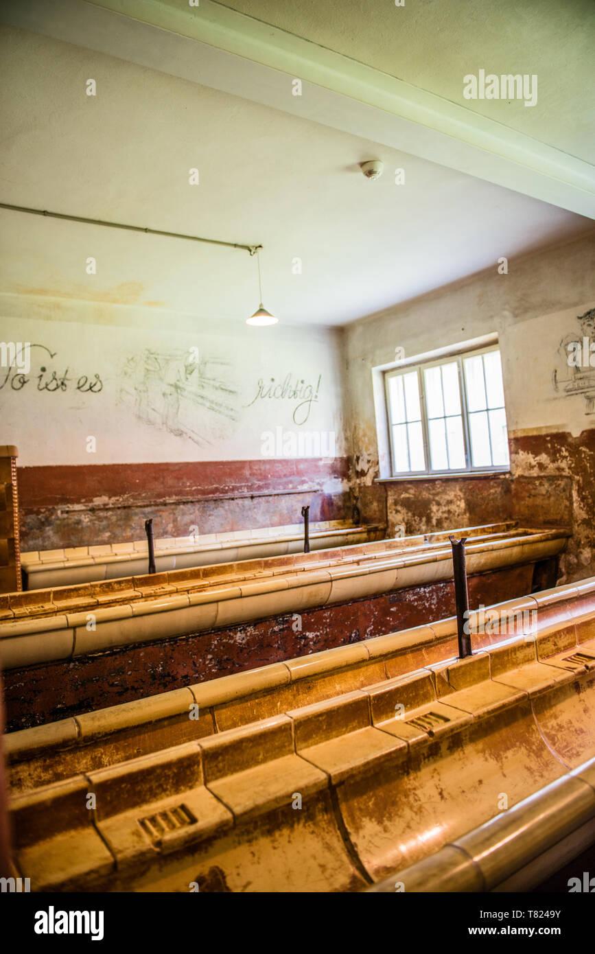 AUSCHWITZ (OSWIECIM), POLAND - APRIL 18, 2019: Washing room in barrack Auschwitz I (main camp) in Oswiecim, Poland - Stock Image