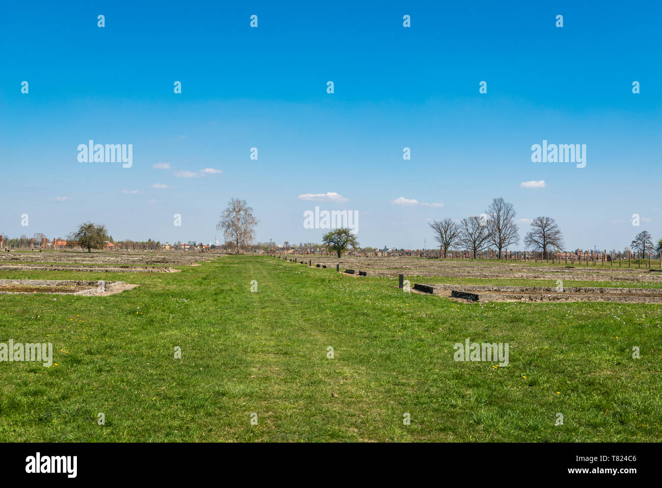 AUSCHWITZ (OSWIECIM), POLAND - APRIL 18, 2019: Ruins of stock camp 'Canada' in Auschwitz Birkenau extermination camp, Poland - Stock Image