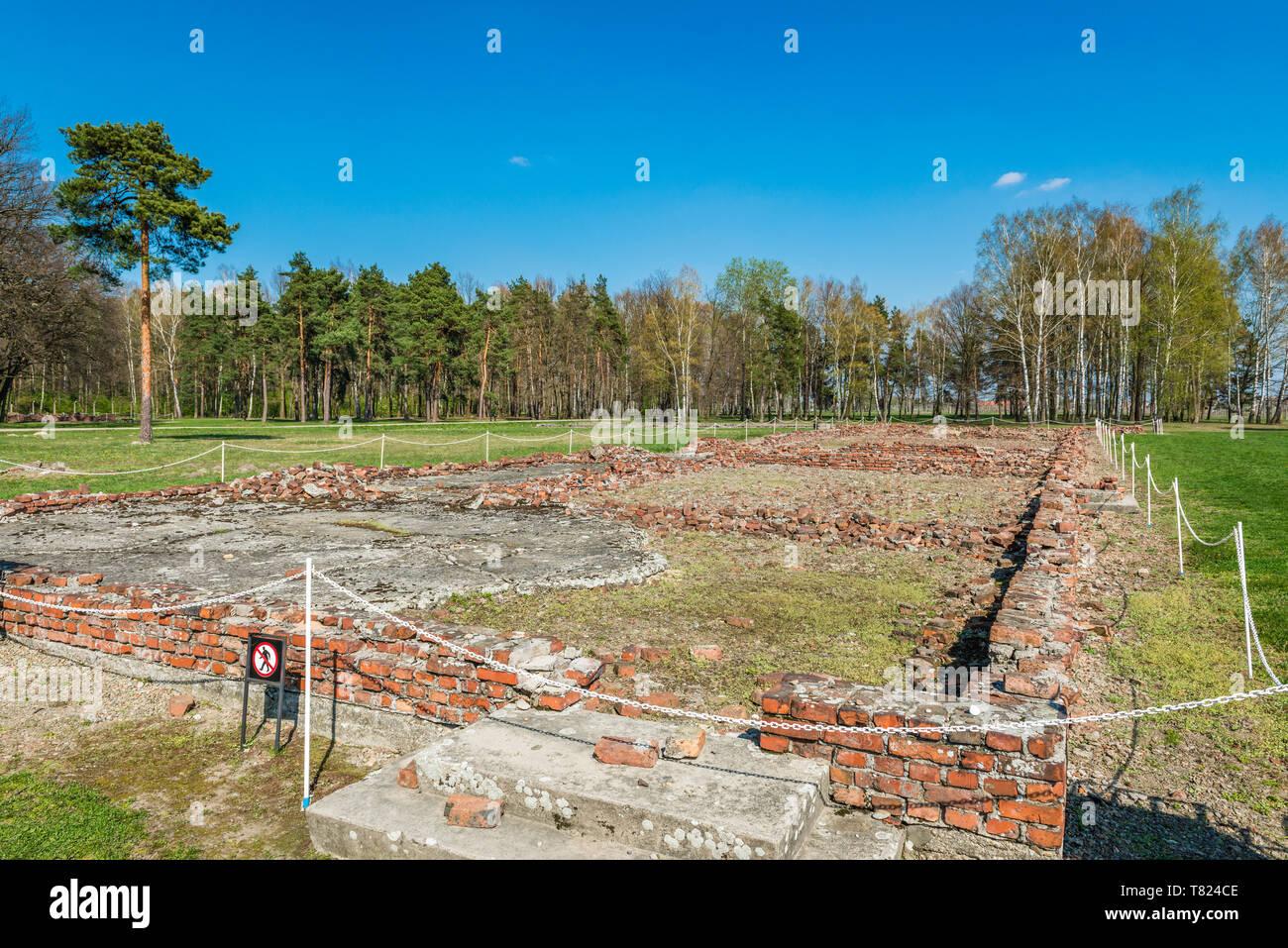 AUSCHWITZ (OSWIECIM), POLAND - APRIL 18, 2019: Ruins of Gas Chamber in Auschwitz Birkenau extermination camp, Poland - Stock Image