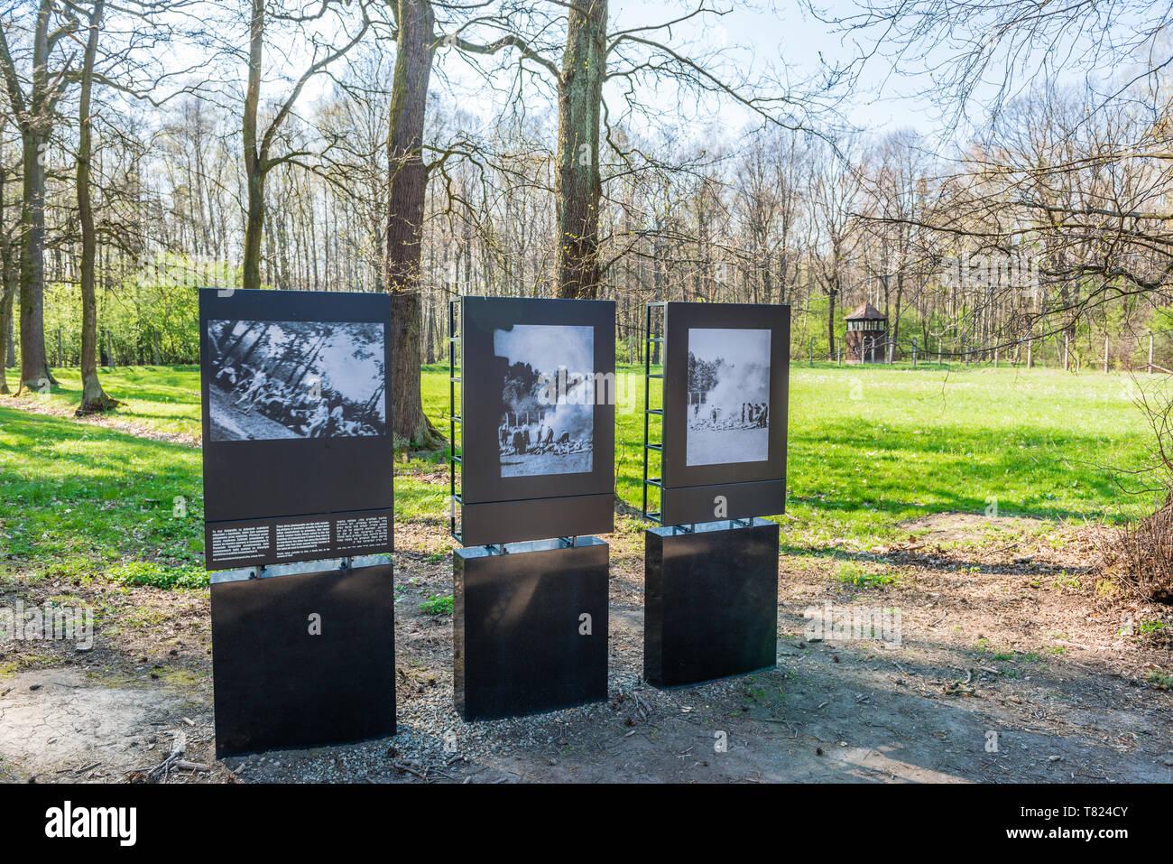 AUSCHWITZ (OSWIECIM), POLAND - APRIL 18, 2019: Corpse Burning site in Auschwitz Birkenau extermination camp, Poland. - Stock Image