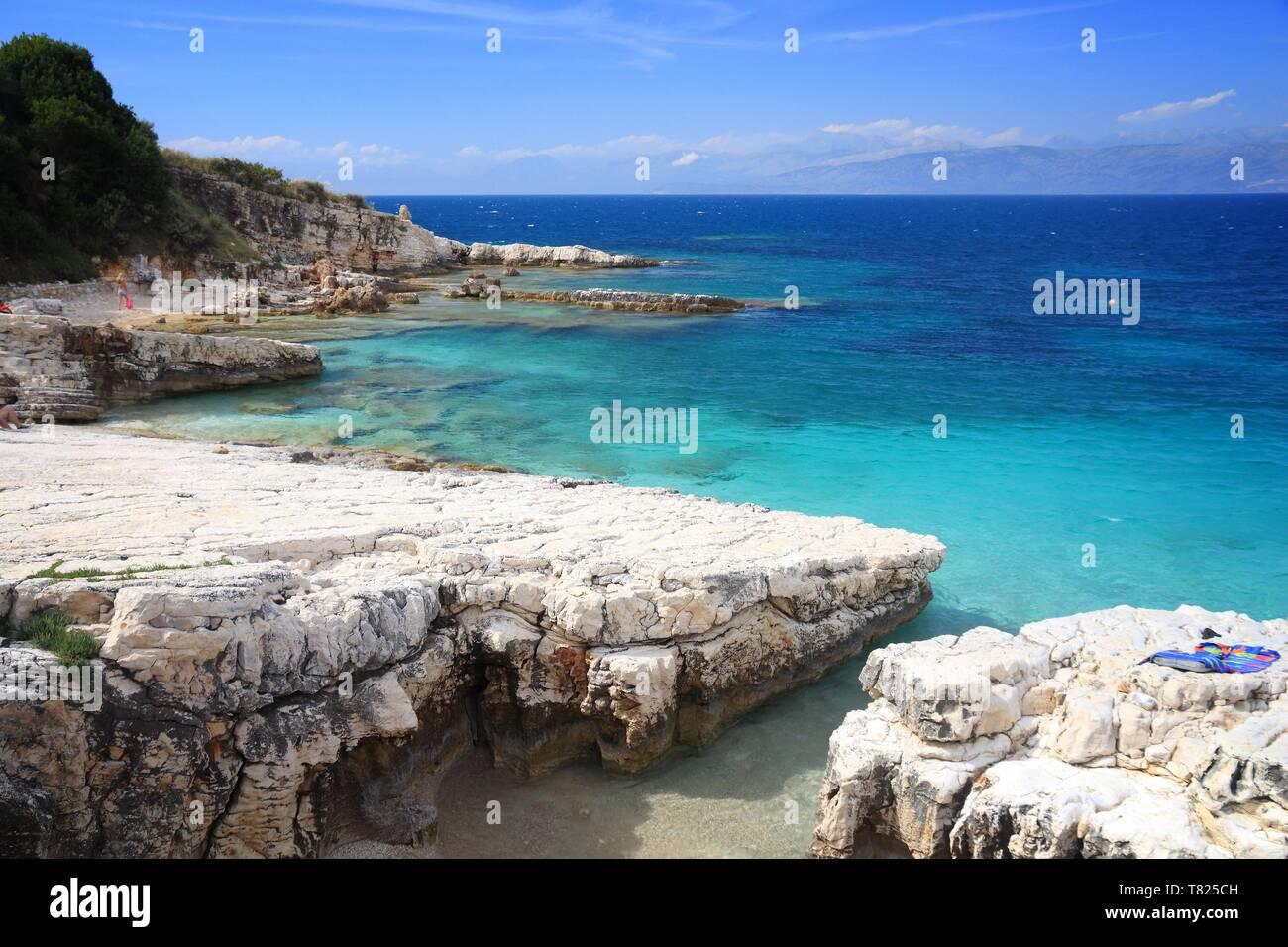 Kassiopi Beach in Corfu island, Greece. Mediterranean landscape. - Stock Image