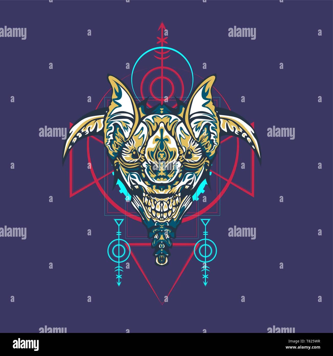 Vector illustration. robot sacred geometry. For t-shirt design, poster, sticker. Line Style. - Vector Stock Vector