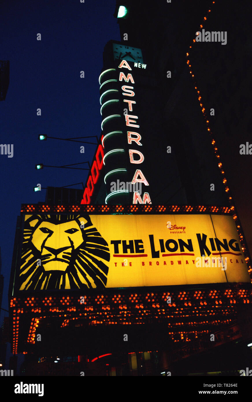 1998 Lion King New Amsterdam Theater Marquee on West 42nd Street, NYC, USA - Stock Image