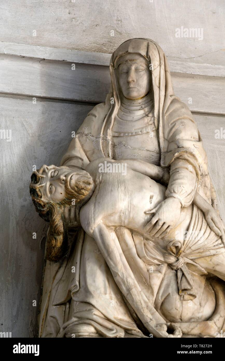 France, Jura, Saint Lothain, church dated 10th century, Virgin of Mercy, alabaster statue dated 16th century - Stock Image