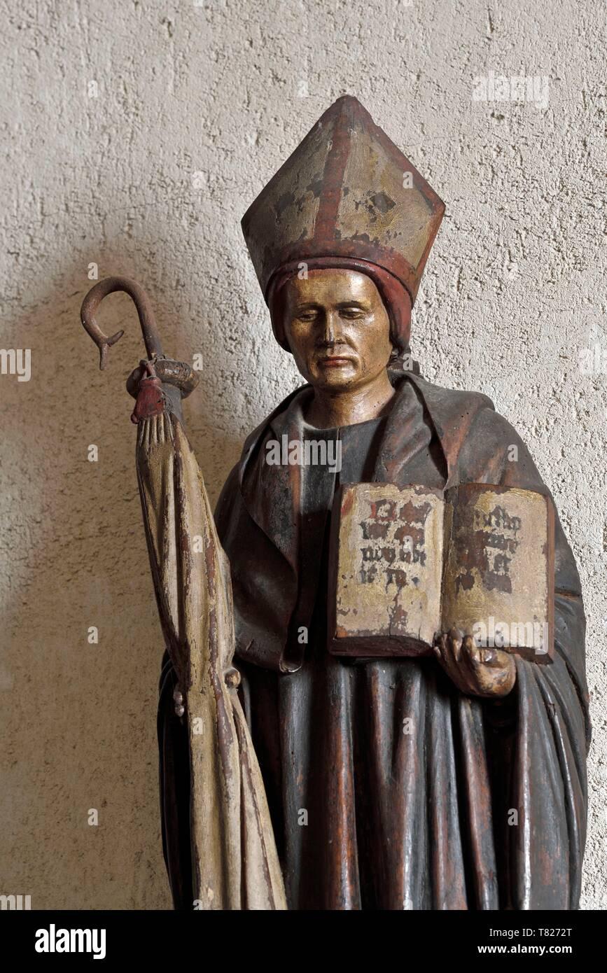France, Jura, Saint Lothain, church dated 10th century, wooden statue of Saint Lothain dated 15th century - Stock Image