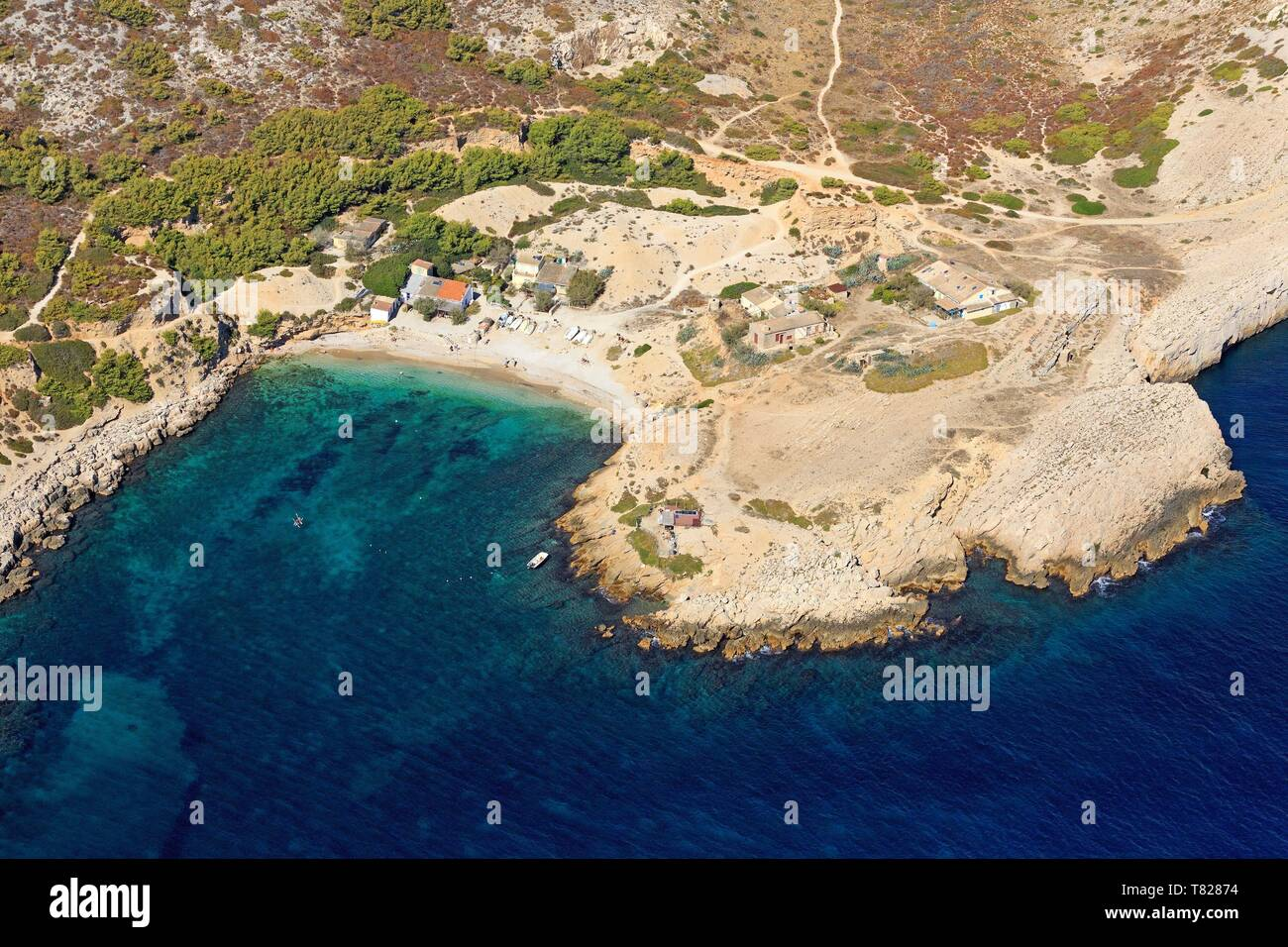 France, Bouches du Rhone, Calanques National Park, Marseille, 9th arrondissement, Marseilleveyre cove (aerial view) - Stock Image