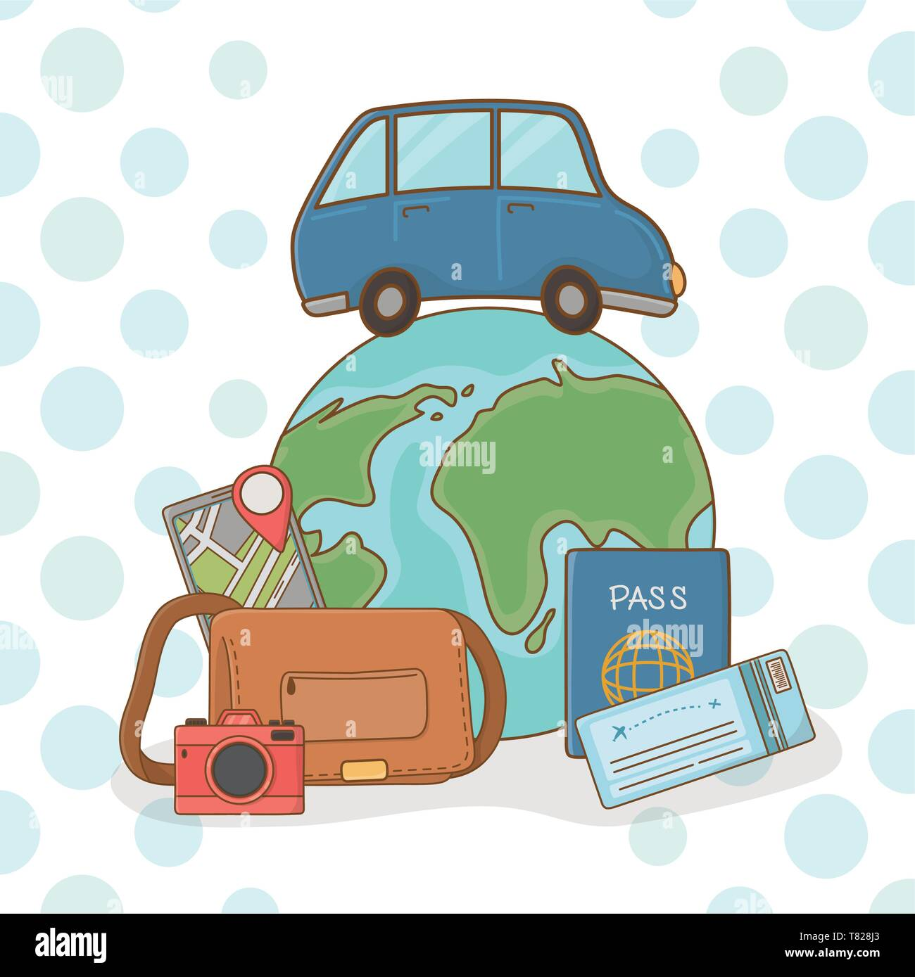 world planet with car and travel vacations items vector illustration design Stock Vector