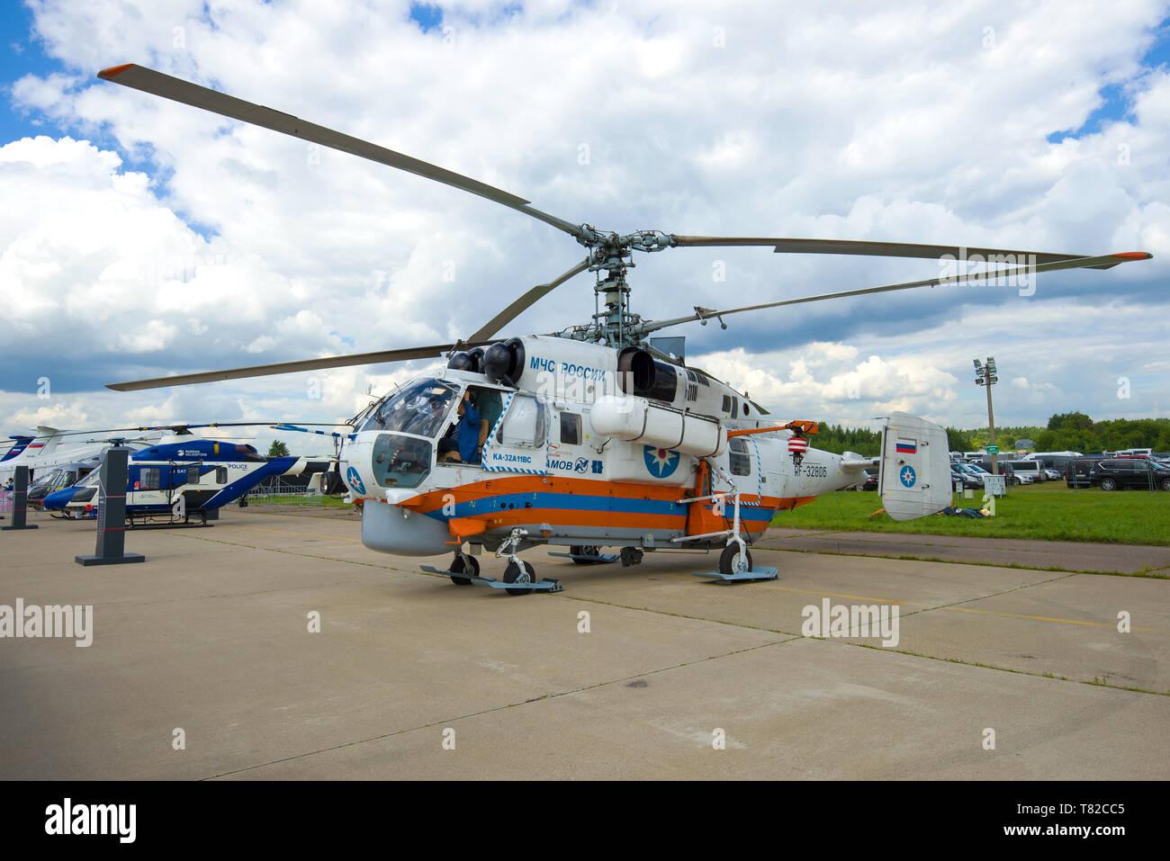 ZHUKOVSKY, RUSSIA - JULY 20, 2017: Helicopter Kamov Ka-32A11BK (RF-32806) EMERCOM of Russia at MAKS-2017 air show - Stock Image