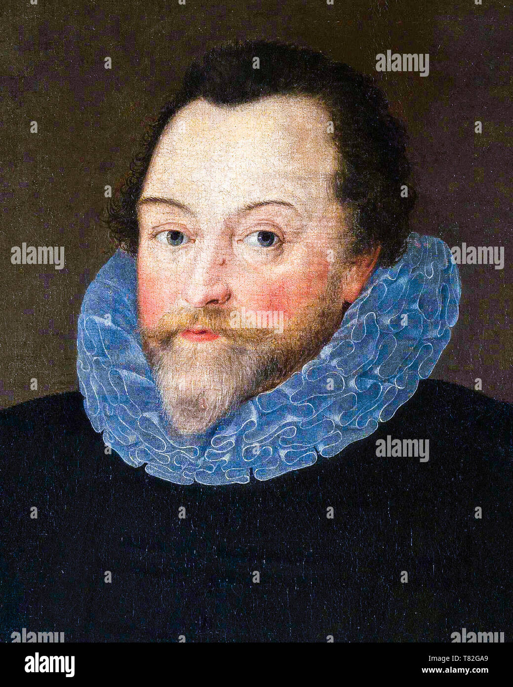 Sir Francis Drake, portrait painting (detail) 1591 - Stock Image