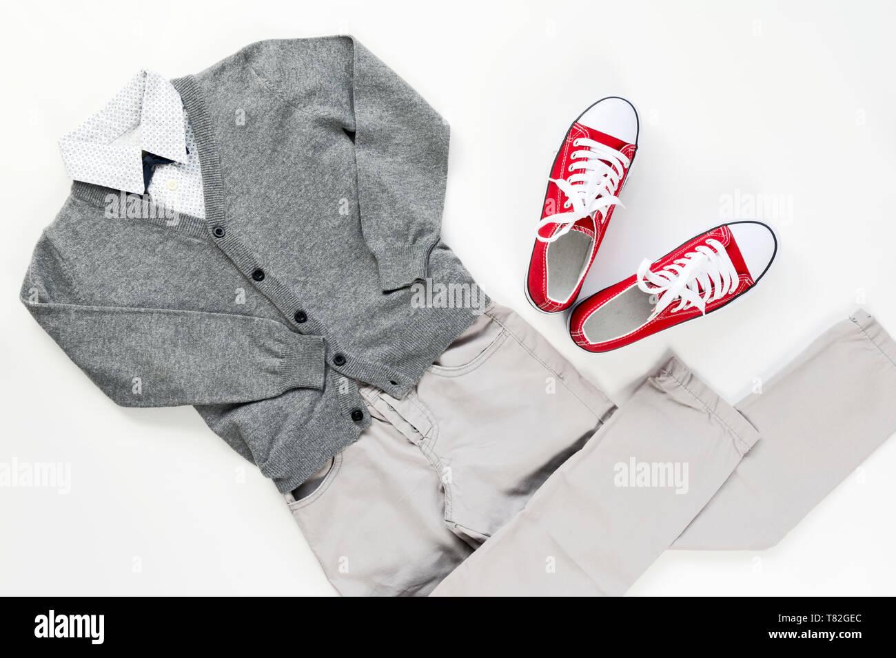 Set of trendy fashion male clothing elements isolated on white, school concept uniform - Stock Image
