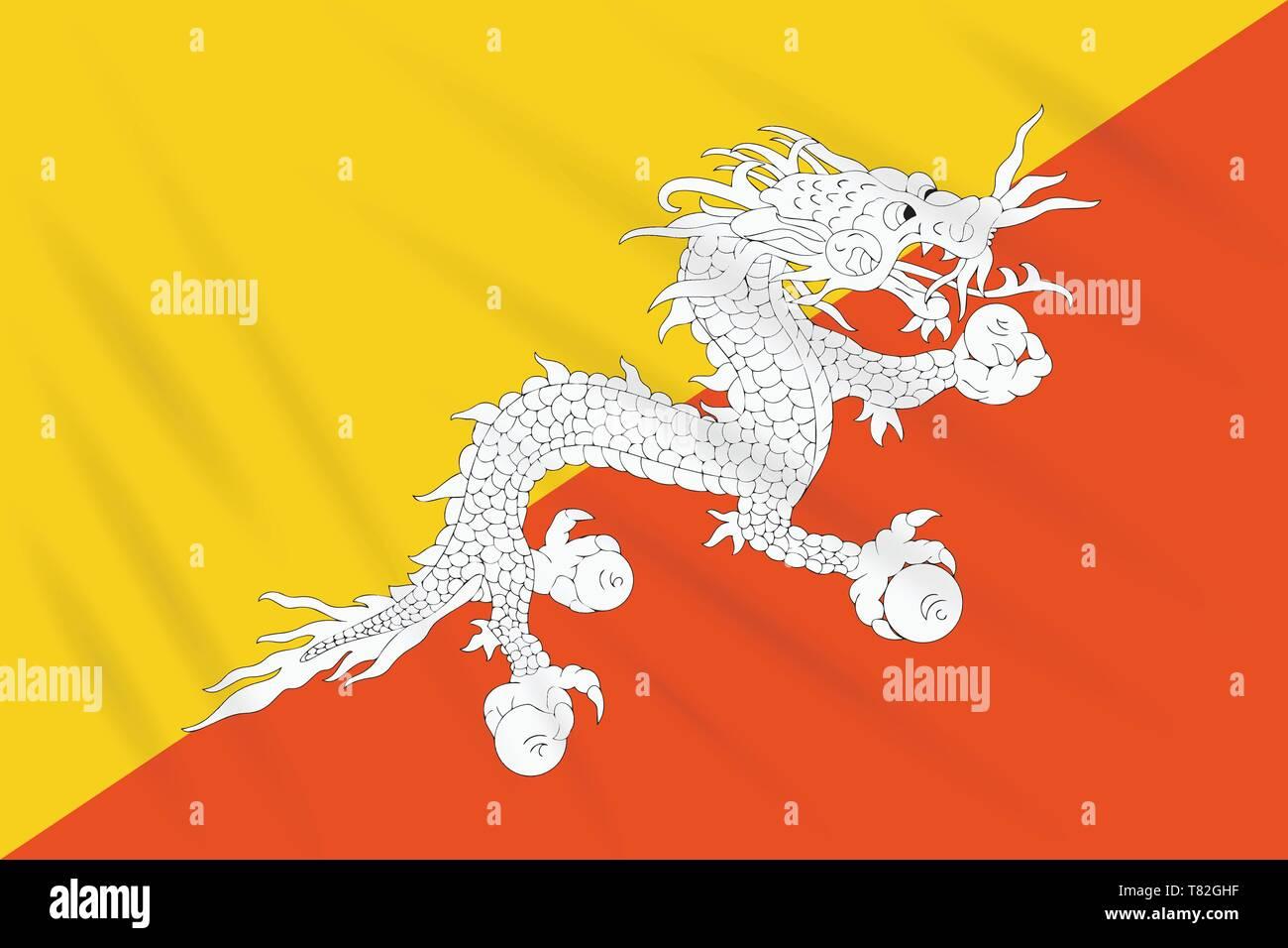 Flag Bhutan swaying in wind, realistic vector - Stock Image