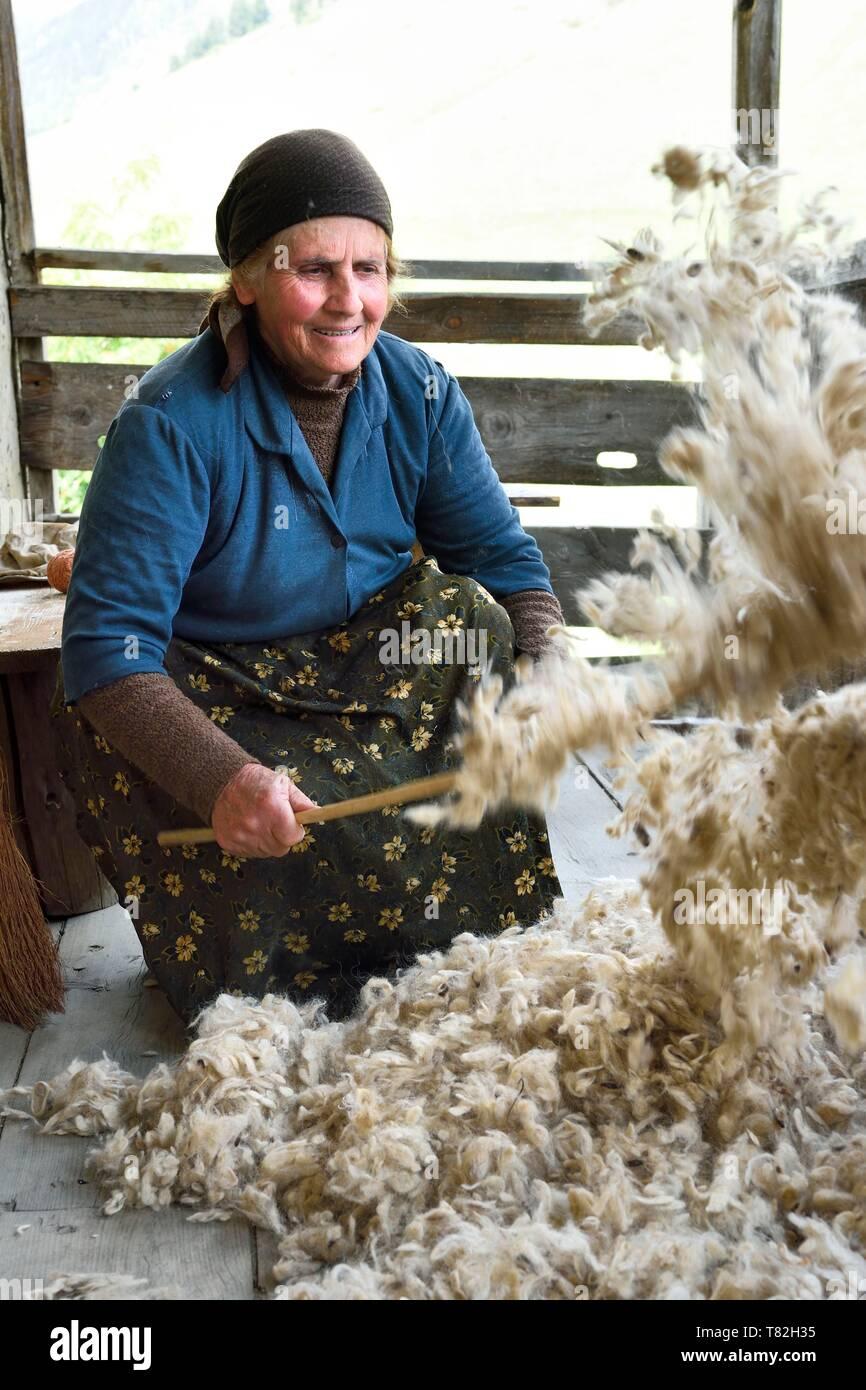 Georgia, Kakheti, Tusheti National Park, village of Shenako, Sirana Hatchizé goes back for the summer in Tusheti, here she airs the wool intended for the mattress - Stock Image