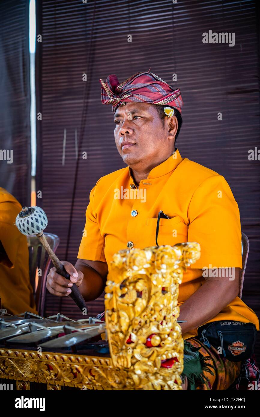 Indonesia, Bali, Ubud, Barong musician (traditional dance) - Stock Image